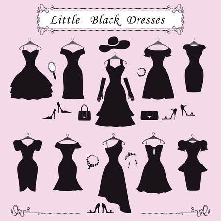 Illustrazione per Fashion dress.Different styles of little black party dresses Silhouette set. Composition made in modern flat vector style.Handbag,high heel shoes,jewelry decoration, swirling frame.Isolated Illustration - Immagini Royalty Free