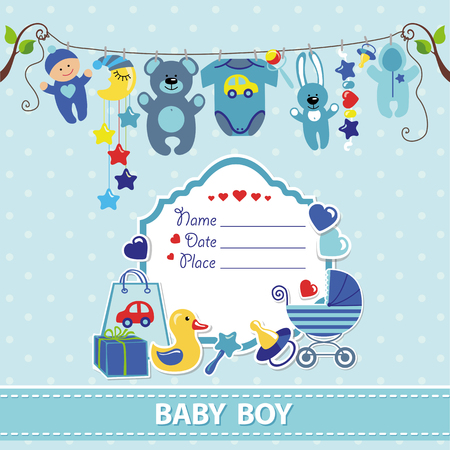Photo for New born Baby boy invitation shower card.Flat elements hanging on rope,label,stork.Vector scrapbook decor.Greeting pstcard.Blue,cyan colors,polka dot background.Design template. - Royalty Free Image