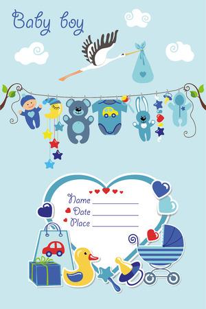 Illustration pour New born Baby boy invitation shower card.Flat elements hanging on rope,label,stork.Vector scrapbook decor.Greeting potcard.Blue,cyan colors.Design template. - image libre de droit
