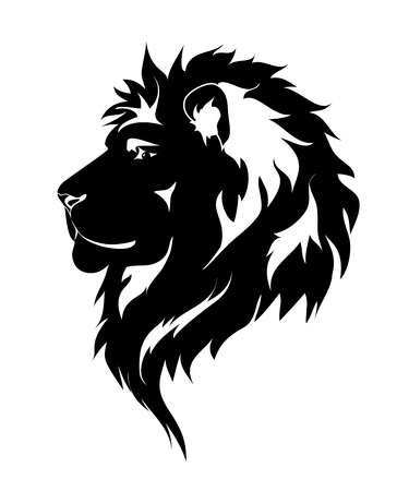 Graphic lion, black and white drawing for tattoo.