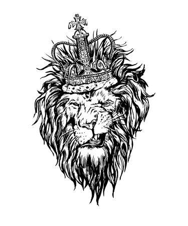 Illustration for Hand drawn realistic lion in crown character. - Royalty Free Image