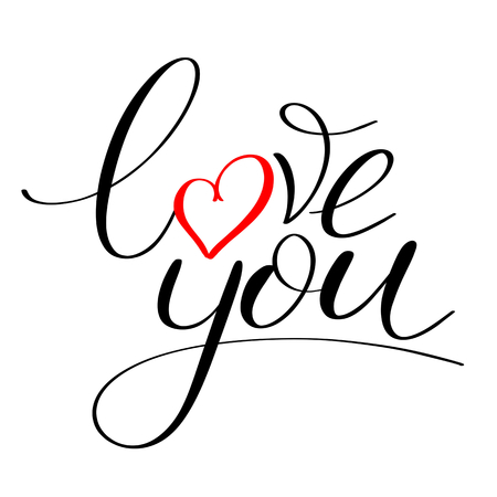 Illustration pour Love you with red heart text, Calligraphic love lettering - image libre de droit