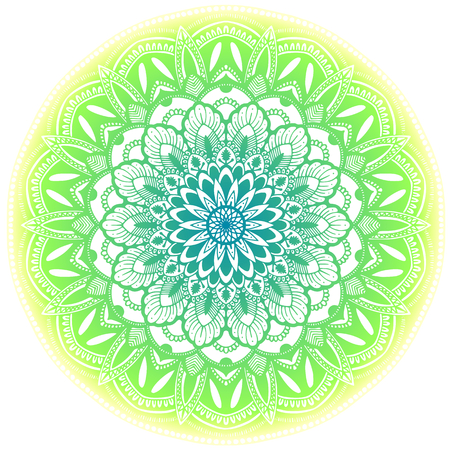 Illustration pour Green ethnic mandala illustration. Isolated on white background. - image libre de droit