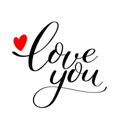 Ilustración de Simple Love you text with red heart, Calligraphic love lettering - Imagen libre de derechos