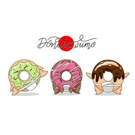 Ilustración de Cartoon funny donut sumo illustration. - Imagen libre de derechos