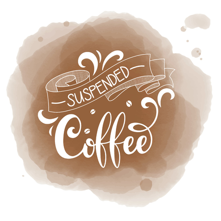 Illustration pour Suspended coffee hand draw logo illustration with lettering, vector - image libre de droit