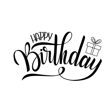 Illustration pour Happy birthday lettering. Holiday text and decorations. Greeting Card and Poster - image libre de droit