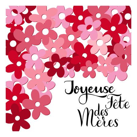 Ilustración de Floral happy mother day lettering in French image illustration - Imagen libre de derechos