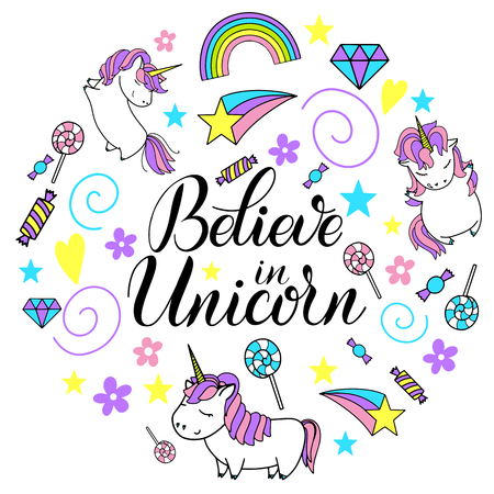 Illustration for Believe in unicorns lettering with circular design of unicorns, rainbows and sweets. - Royalty Free Image