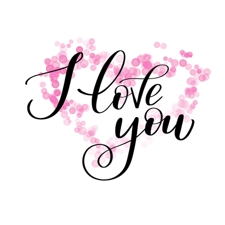 Illustrazione per I LOVE you greeting text with pink bokeh flower, Calligraphic love lettering - Immagini Royalty Free