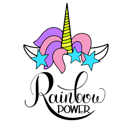 Illustration for Unicorn cute vector lettering and illustration. Rainbow power design. - Royalty Free Image