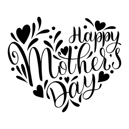 Illustration pour Happy mother's Day lettering. Greeting Card Design with Hand Drawn Text Vector illustration. - image libre de droit