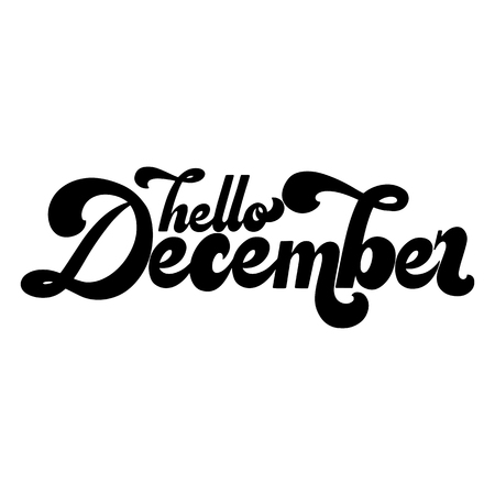 Illustration for Hello December lettering. Elements for invitations, posters, greeting cards. T-shirt design. Seasons Greetings. 70s typography retro style - Royalty Free Image