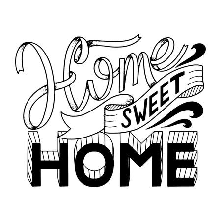 Ilustración de Home sweet home lettering. Vector elements for invitations, posters, greeting cards. T-shirt design - Imagen libre de derechos