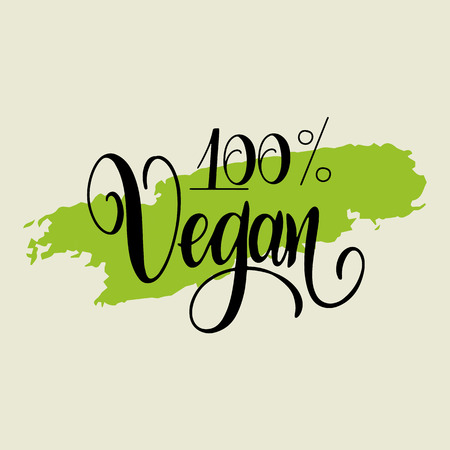 Photo for Organic food labels with hand drawn lettering. 100 pc vegan. Healthy stickers. Design for print. Vector illustration. - Royalty Free Image