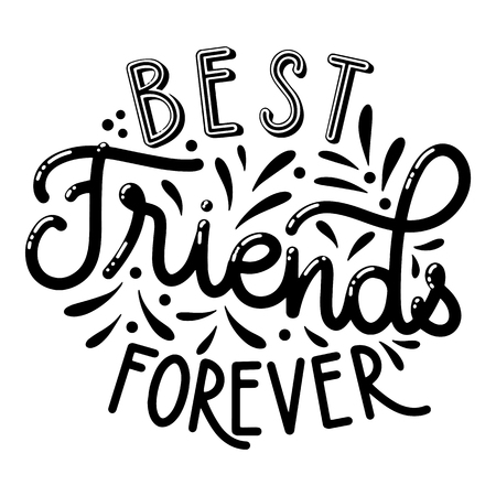 Illustration pour Friendship day hand drawn lettering. Best friends forever. Vector elements for invitations, posters, greeting cards. T-shirt design - image libre de droit
