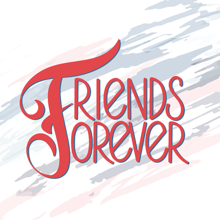 Illustration for Friendship day hand drawn lettering. Friends forever. Vector elements for invitations, posters, greeting cards. T-shirt design. Friendship quotes. - Royalty Free Image