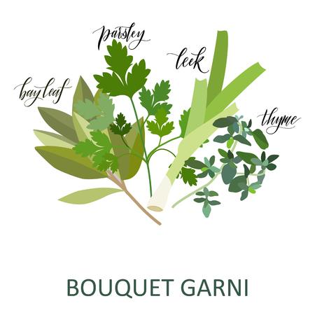 Illustration pour Bouquet Garni herbs set. Hand written names. Aromatic cooking herbs - image libre de droit