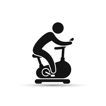 Illustration pour Man training on exercise bike icon. Vector icon isolated on white background. - image libre de droit