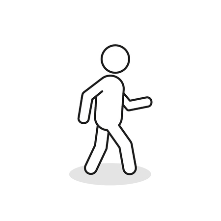 Illustration pour Pedestrian outline icon. Walking man vector line sign silhouette. Isolated on white background. - image libre de droit