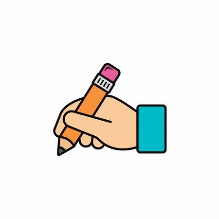 Ilustración de Hand hold pencil icon. Hand writing icon. Vector color illustration. - Imagen libre de derechos