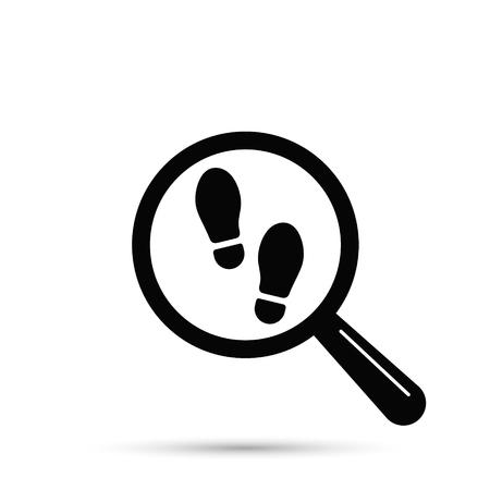 Ilustración de Footprint searching icon, vector isolated flat illustration with magnifier and shoe print. - Imagen libre de derechos