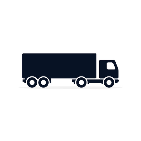 Illustrazione per Truck Icon Vector on Simple flat symbol. Black pictograph illustration on white background. - Immagini Royalty Free