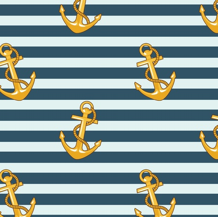 seamless pattern with striped vest and anchors  mural