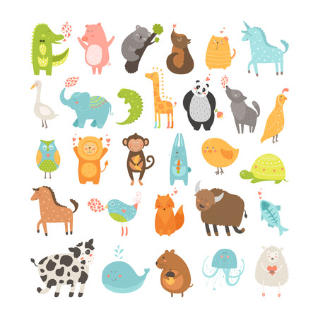 Illustration pour Cute animals collection.  - image libre de droit