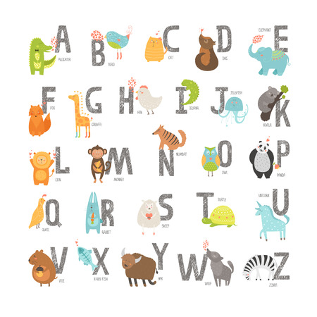 Ilustración de Cute vector zoo alphabet with cartoon animals isolated on white background. Grunge letters, cat, dog, turtle, elephant, panda, alligator,lion, zebra - Imagen libre de derechos