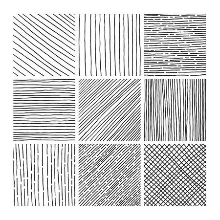 Illustration pour Vector collection ink hand drawn hatch texture, ink lines, points, hatching, strokes and abstract graphic design elements isolated on white background - image libre de droit