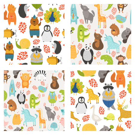 Illustration pour Vector seamless patterns with cute animals. Collection zoo backgrounds with cat, dog, owl, rabbit, bear, panda, monkey, alligator, bird,unicorn, lion, koala an more - image libre de droit
