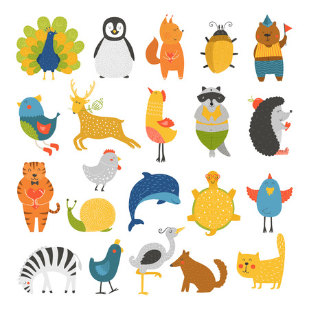 Illustration pour Cute animals collection, baby animals, animals vector. Vector cat, peacock, penguin, squirrel, beetle, bear, bird, deer, raccoon, hedgehog, tiger, dolphin, heron, tortoise, zebra, dog, snail isolated on white background. Cartoon animals set - image libre de droit
