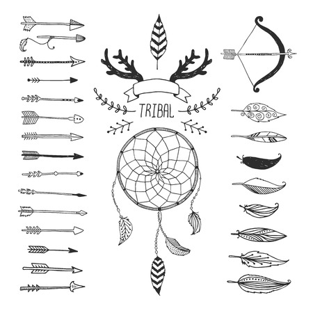 Photo for Vector Tribal design elements, aztec symbols, arrows, dreamcatcher, floral, ribbon, horns,  native american,  indian feather, bow with arrows isolated on white background. Hand drawn tribal, ethnic elements - Royalty Free Image