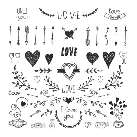 Ilustración de Love decorative vintage elements, hand drawn collection with arrow, heart, tatoo, flower, tea and lettering. Doodle love set, vector illustration for design - Imagen libre de derechos