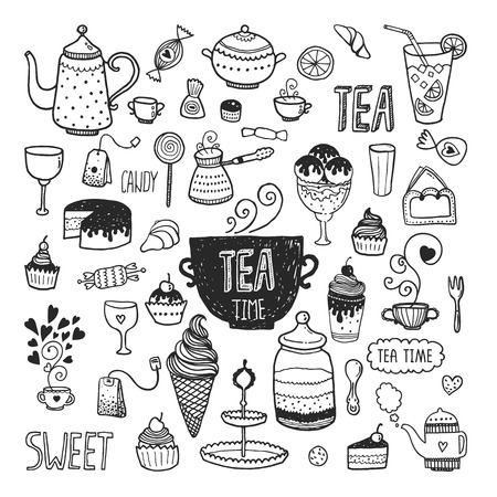 Illustration pour Hand drawn tea time collection, vector doodle set with teapots, glass, cupcake, decoration, tea, icecream, cup and sweets - image libre de droit