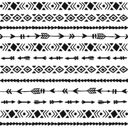 Illustration for Tribal hand drawn background, ethic doodle pattern, ink illustration - Royalty Free Image