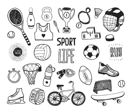 Illustration pour Hand drawn doodle sport collection. Vector sport icons, Cartoon healthy lifestyle set - image libre de droit
