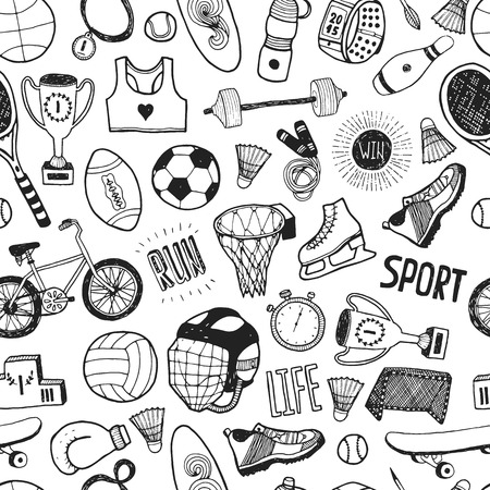 Ilustración de Hand drawn doodle sport background. Vector cartoon pattern with sport icons - Imagen libre de derechos
