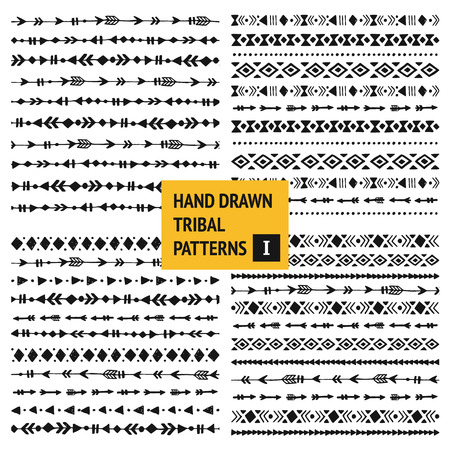 Illustration for Tribal hand drawn backgrounds, ethic doodle patterns, ink illustration.  - Royalty Free Image