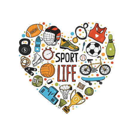 Ilustración de Hand drawn doodle sports symbols in heart. sport icons, cycling, skating, soccer, bowling, tennis, baseball. Cartoon healthy lifestyle set - Imagen libre de derechos