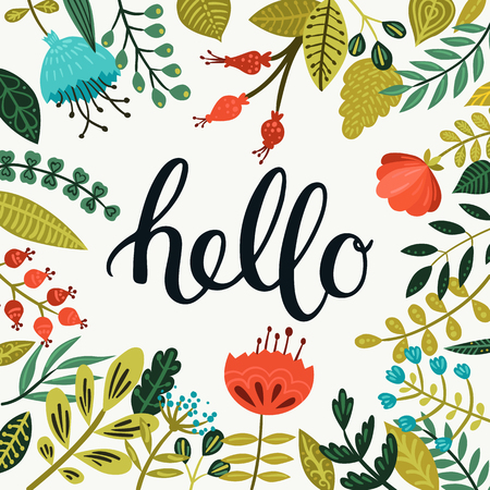 Illustration for Vector Hello card with hand drawn lettering and cute flowers and branches. Spring Greeting card with brushlettering on floral background - Royalty Free Image