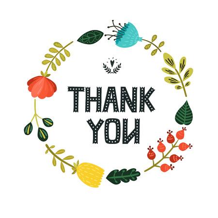 Ilustración de Thank you card with hand lettering and cute floral wreath on white background - Imagen libre de derechos