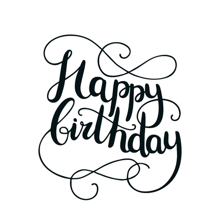 Happy birthday card with hand drawn lettering on background. Letters written with a brush pen