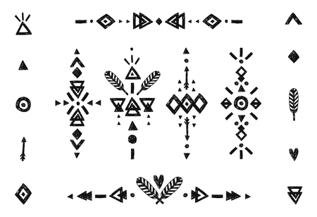 Illustration for Hand drawn tribal collection with stroke, line, arrow, decorative elements, feathers, geometric symbols ethnic style. Flash Tattoo isolated on white background - Royalty Free Image