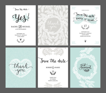Illustration pour Set of Save the date cards, wedding invitations with handdrawn lettering, heart and branches. Vector wedding template - image libre de droit