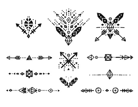 Illustration pour Hand drawn tribal collection with stroke, line, arrow, decorative elements, feathers, geometric symbols ethnic style. Flash Tattoo, tribal logo, boho shapes - image libre de droit