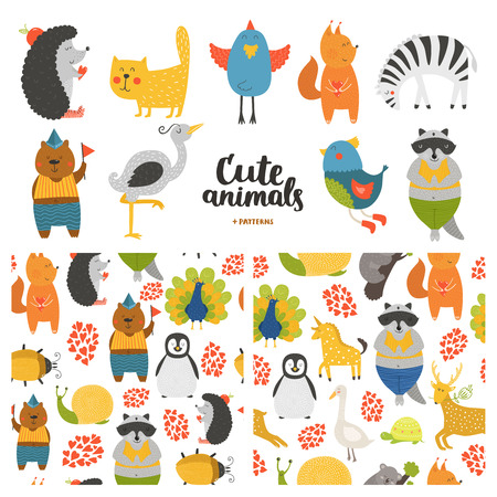Cartoon animals collection and seamless patterns.  Vector cute cat, bear, bird, raccoon, hedgehog,  heron, zebra, squirrel isolated on white background, baby animals in love