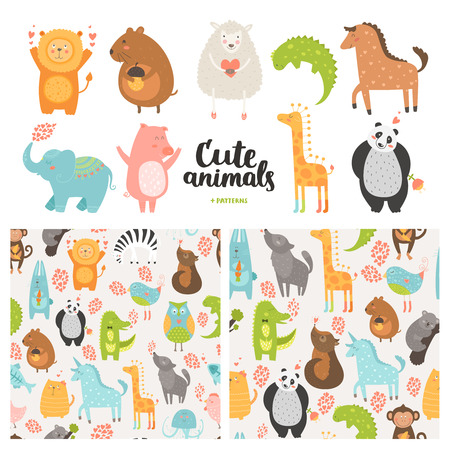 Ilustración de Cartoon animals collection and seamless patterns.  Vector cute pig, lion, sheep, dog, bird, rabbit, panda, elephant,  horse isolated on white background, baby animals in love - Imagen libre de derechos