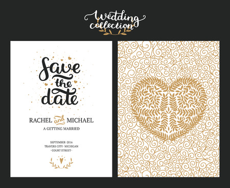 Illustration pour Save the date cards, wedding invitation with hand drawn lettering, heart and branches. Gold and black background. Vector Save the date templates - image libre de droit
